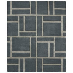Contemporary Tibetan Rug Hand-Knotted in Nepal,Dark Grey - Light Grey