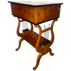 Biedermeier Sewing-Table with Lyra Legs, Cherry, South Germany circa 1830