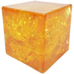 French Midcentury Paperweight Cube in Fractal Resin
