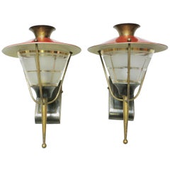 Pair of French Midcentury Lantern Sconces by Maison Lunel