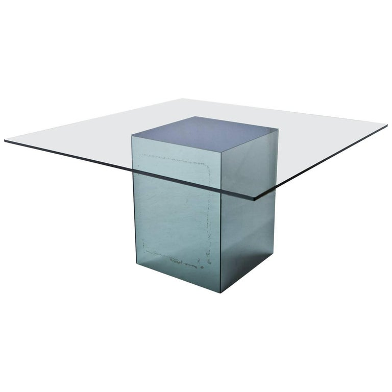 Square Dining Table 'Blok' by Nanda Vigo for Acerbis, Italy, 1971 For Sale