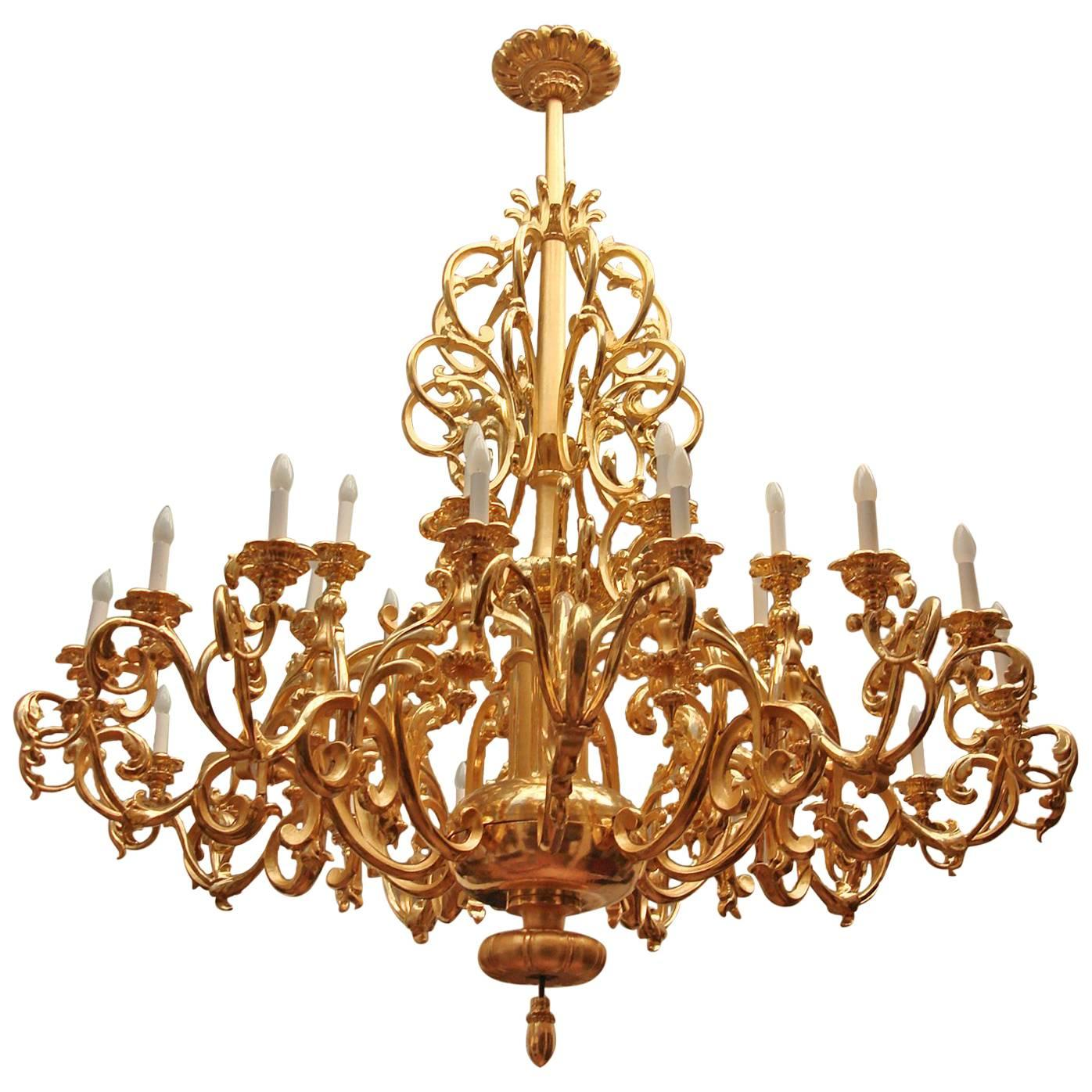 Twenty Five-Light Baroque Style Giltwood Chandelier