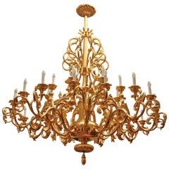 Twenty Five-Light Baroque Style Giltwood Chandelier