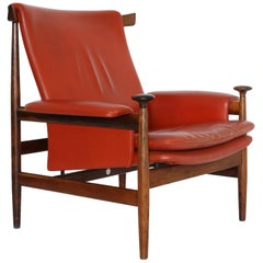 Finn Juhl Rosewood and Leather Bwana Chair