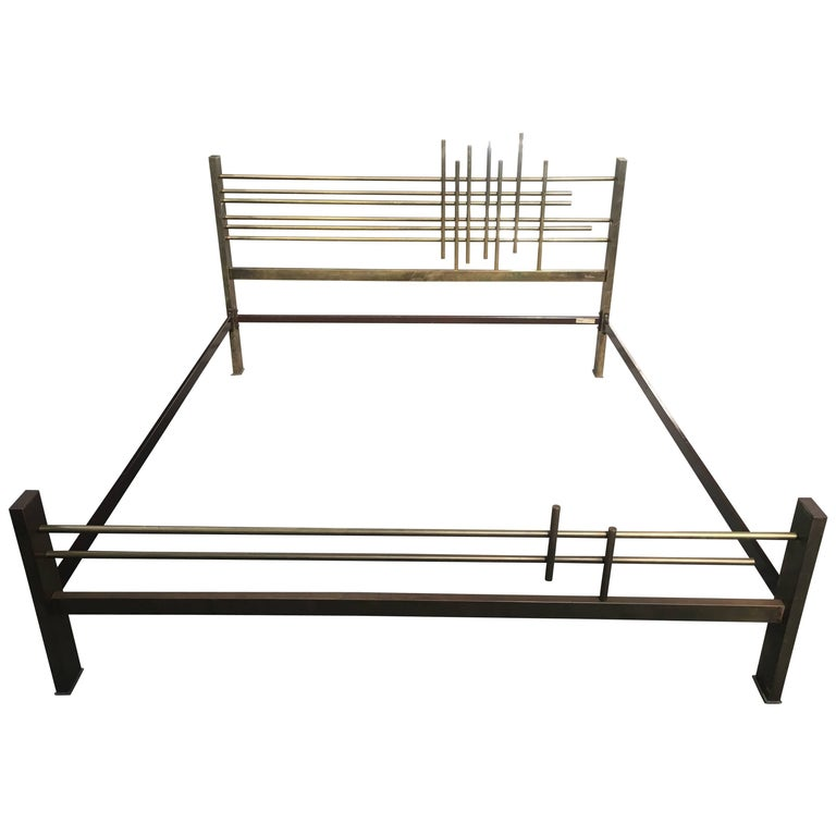 Italian Solid Brass Double Bed from 1970s by Pulli and C.