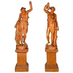 Pair of Antique Terracotta Allegorical Figures