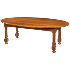 Oval 19th Century Colonial Hardwood Campaign Table