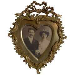 Quality Small Antique Heart Shaped Photograph Frame, circa 1880
