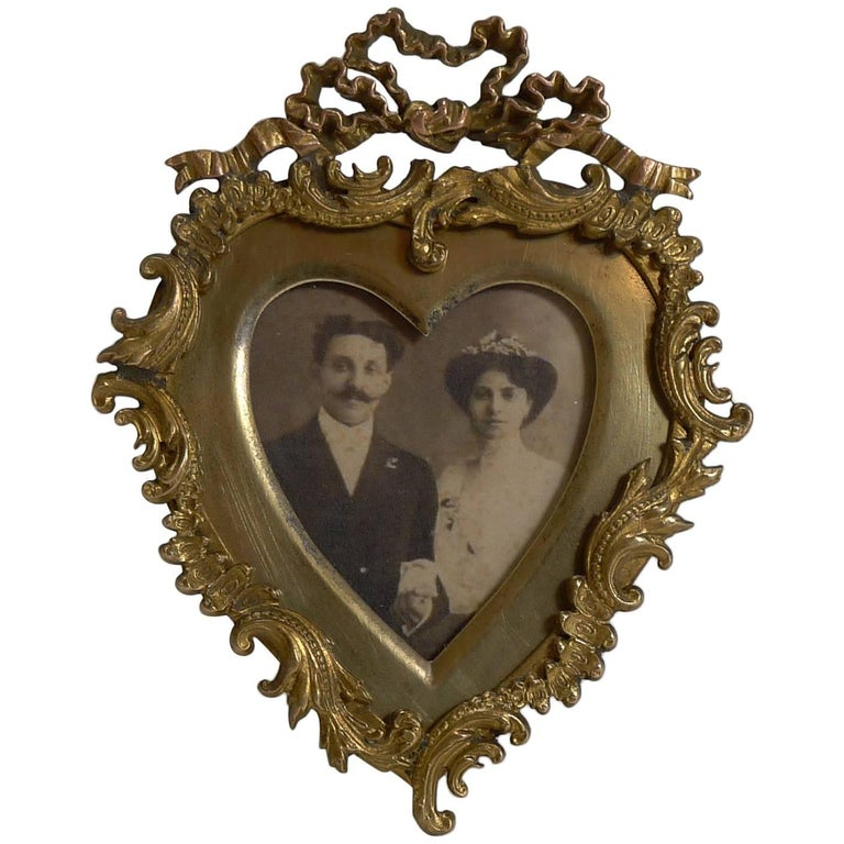Quality Small Antique Heart Shaped Photograph Frame Circa 1880 For