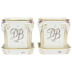 Pair of Royal Copenhagen Porcelain Cachepots with Floral Garland Initials