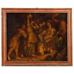 Spanish Religious Painting Holy Family Oil on Canvas, 18th Century