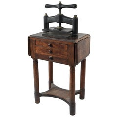 Antique 19th Century Book Press on Work Table