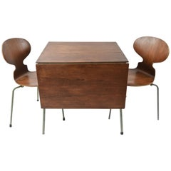 Petite Drop-Leaf Dining Table Set by Arne Jacobsen for Fritz Hansen