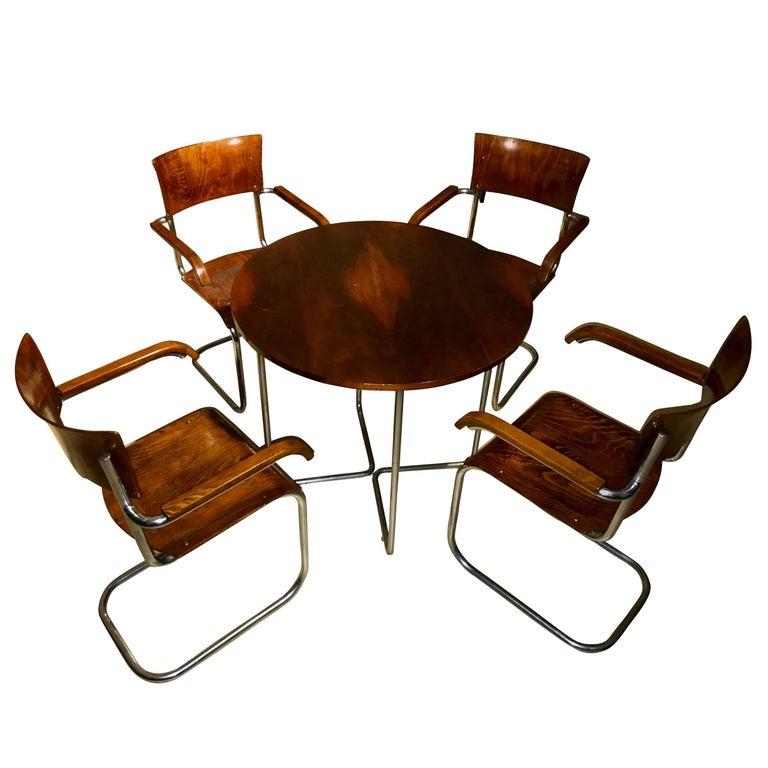 bauhaus seat group austria vienna circa 1927 marcel breuer beech chrome for sale at 1stdibs. Black Bedroom Furniture Sets. Home Design Ideas