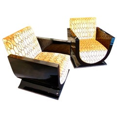 Pair of Art Deco Club Chairs, Black Lacquer, France circa 1925