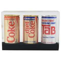 1970s Coca-Cola Can Group in Lucite Block