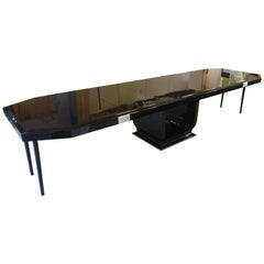 Expandable Art Deco Dining Table, Black Lacquer, Silver Plated, Paris circa 1925