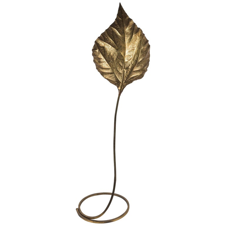 Tommaso Barbi, Rhubarb Leaf Brass Floor Lamp