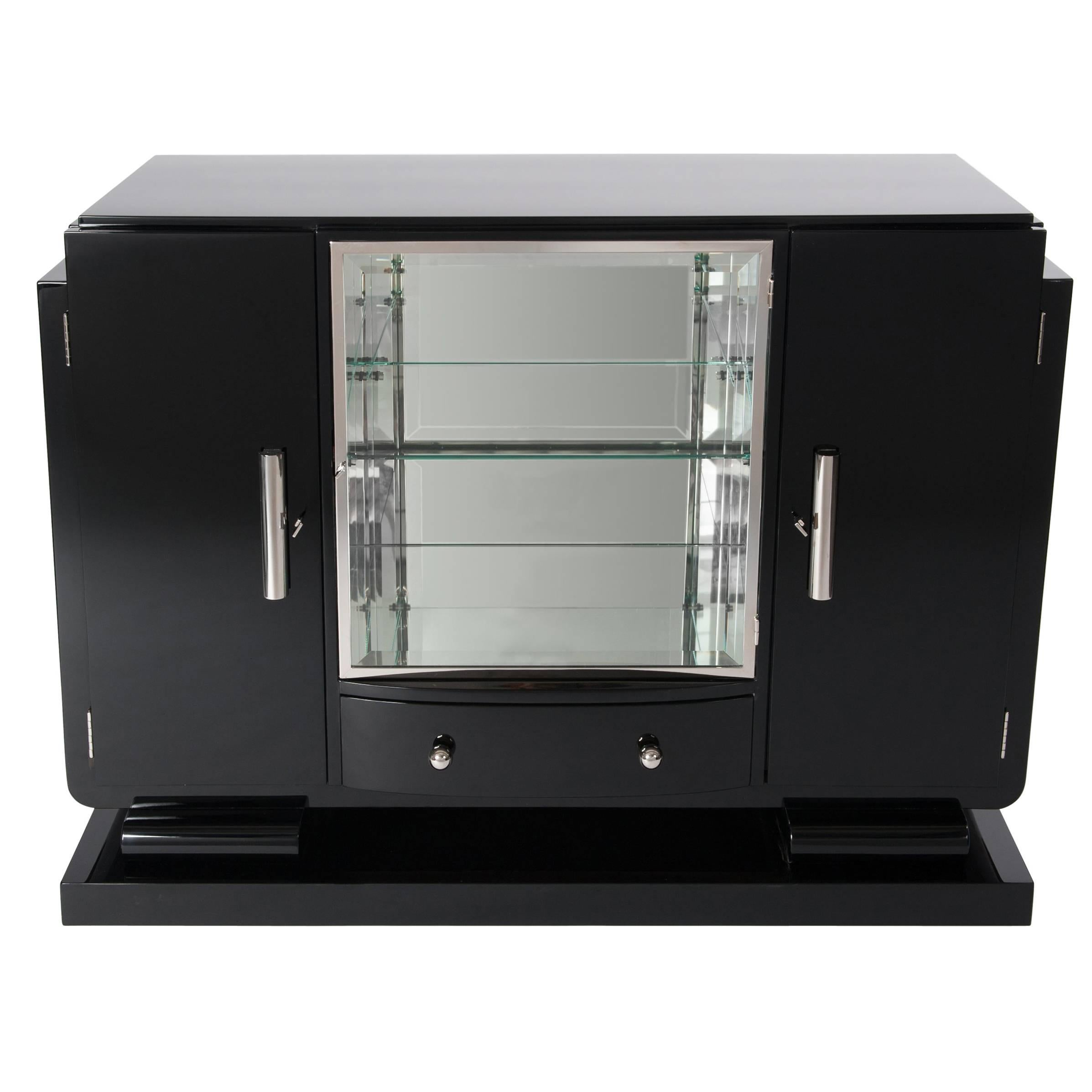 Small French Black Lacquered Art Deco Sideboard With Mirrored Display  Cabinet For Sale
