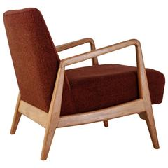 Jens Risom Walnut Lounge Chair with Red-Brown Wool Cushions, USA, 1950s