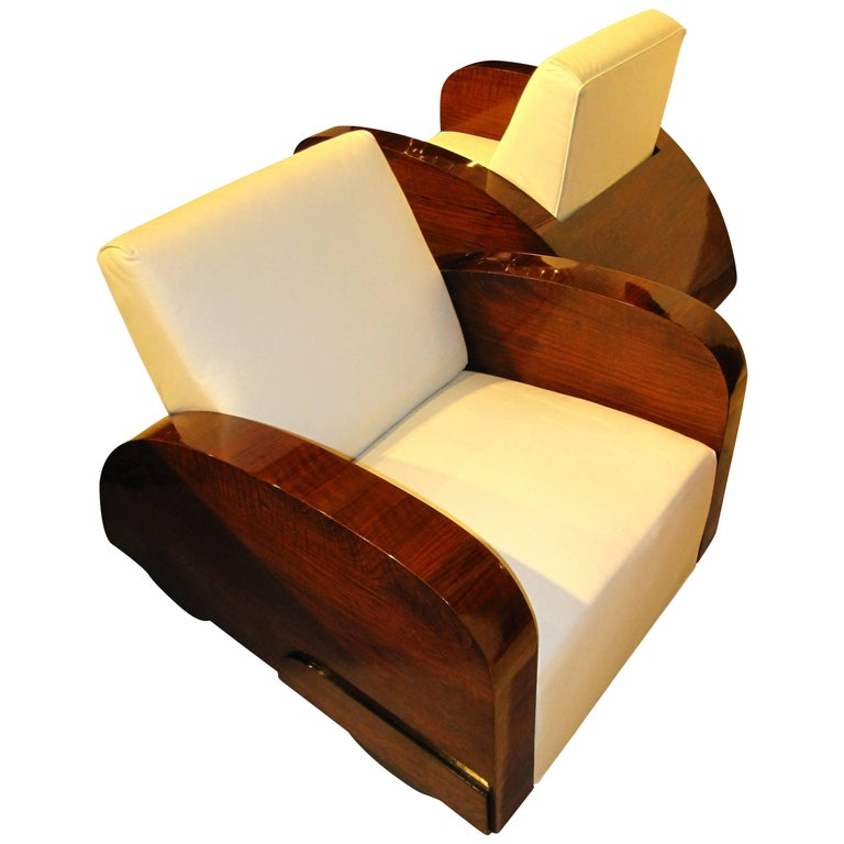 """Exceptional Pair of Art Deco Club Chairs in """"Car Shape"""", France about 1925"""
