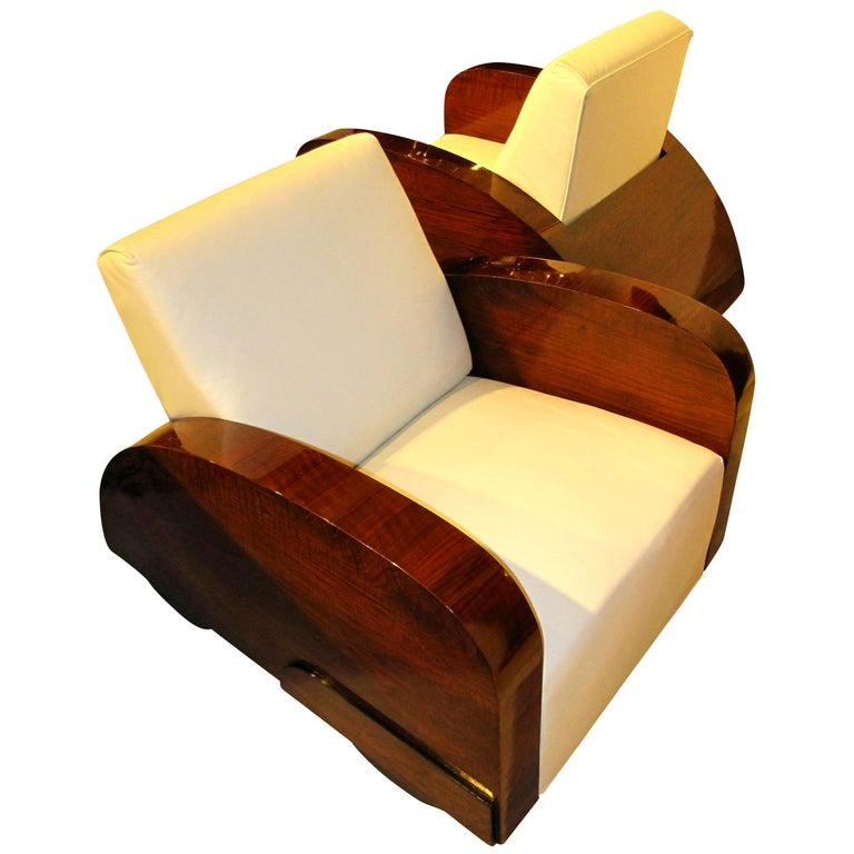 Art Deco Club Chairs in Car Shape, Pair, France, circa 1925 In Good Condition In Regensburg, DE