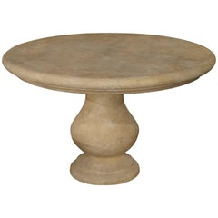 Carved Round Limestone Table from Provence, France
