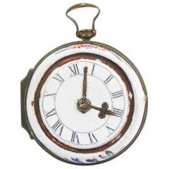 Antique English Battersea Bilston Enamel Pocket Watch Form Snuff or Patch Box