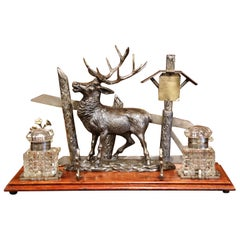 Mid 20th Century French Spelter and Cut Glass Inkwell with Deer Sculpture