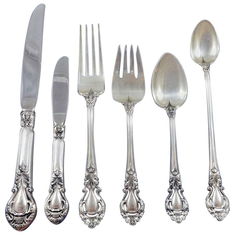 Royal Dynasty by Kirk Stieff Sterling Silver Flatware Service Set 46 Pieces For Sale