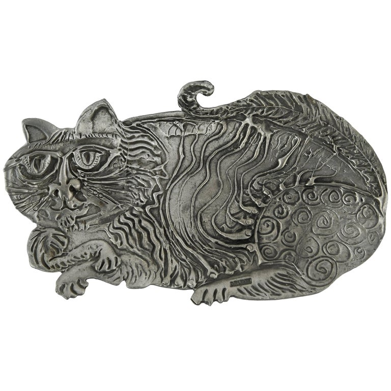 Brutalist Pewter Cat Dish by Donald Drumm