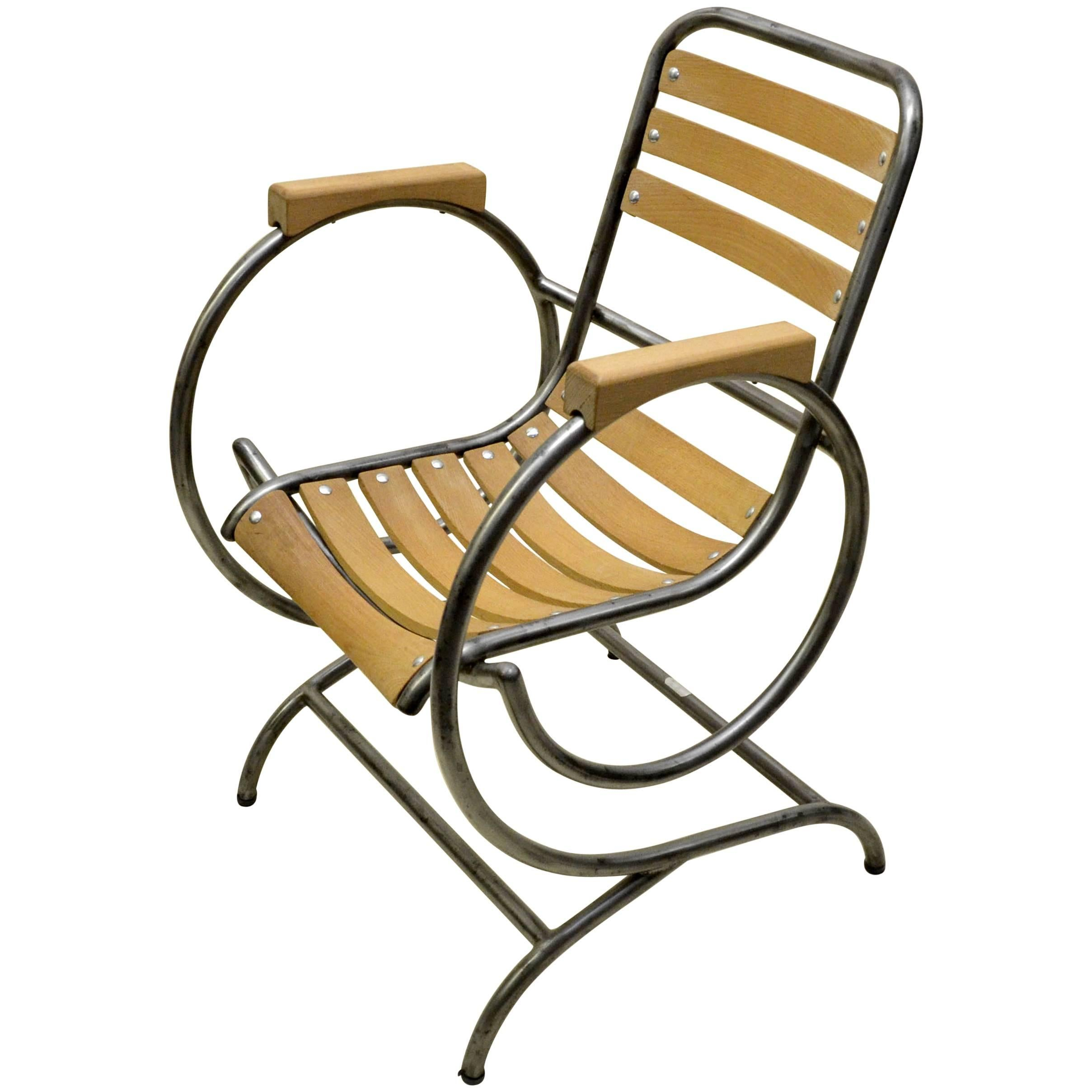 1950s Flexi Tube Industrial Metal And Wood French Armchair For Sale