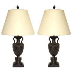 Pair of Neoclassical Bronze Urns Fitted as Lamps