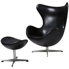 Armchair and Foot Stool, the Egg, Designed by Arne Jacobsen for Fritz Hansen