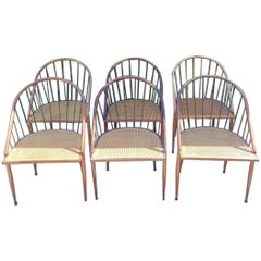 "Joaquim Tenreiro, Set of Six Rosewood and Cane ""Curva Com Varetas"" Chairs"