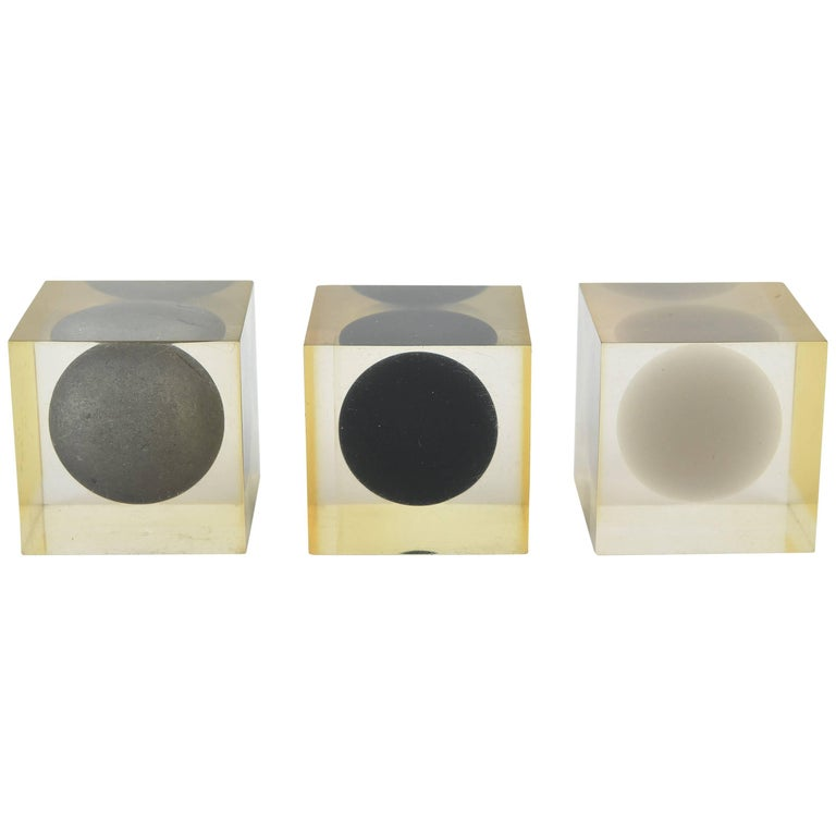 Three Lucite Cubes by Enzo Mari