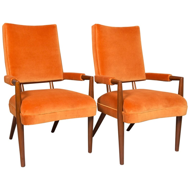 Pair of Midcentury Armchairs with Custom Velvet Upholstery For Sale