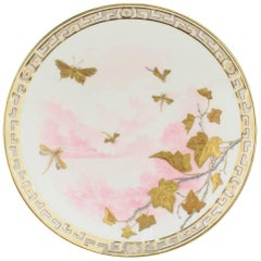 Mintons Aesthetic Movement Reticulated Porcelain Plate with Gold and Platinum