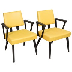 Original Yellow and Black Midcentury Armchairs