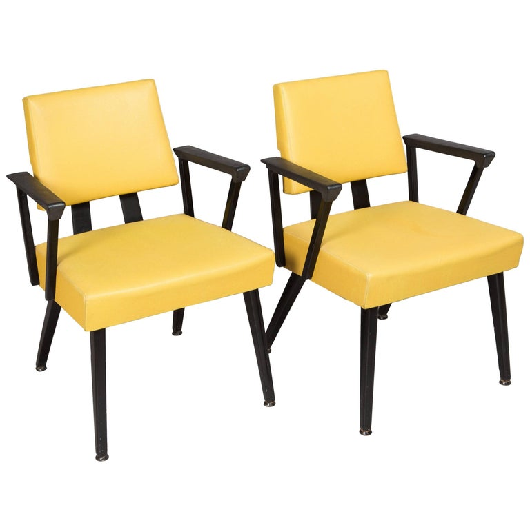 Original Yellow and Black Midcentury Armchairs For Sale