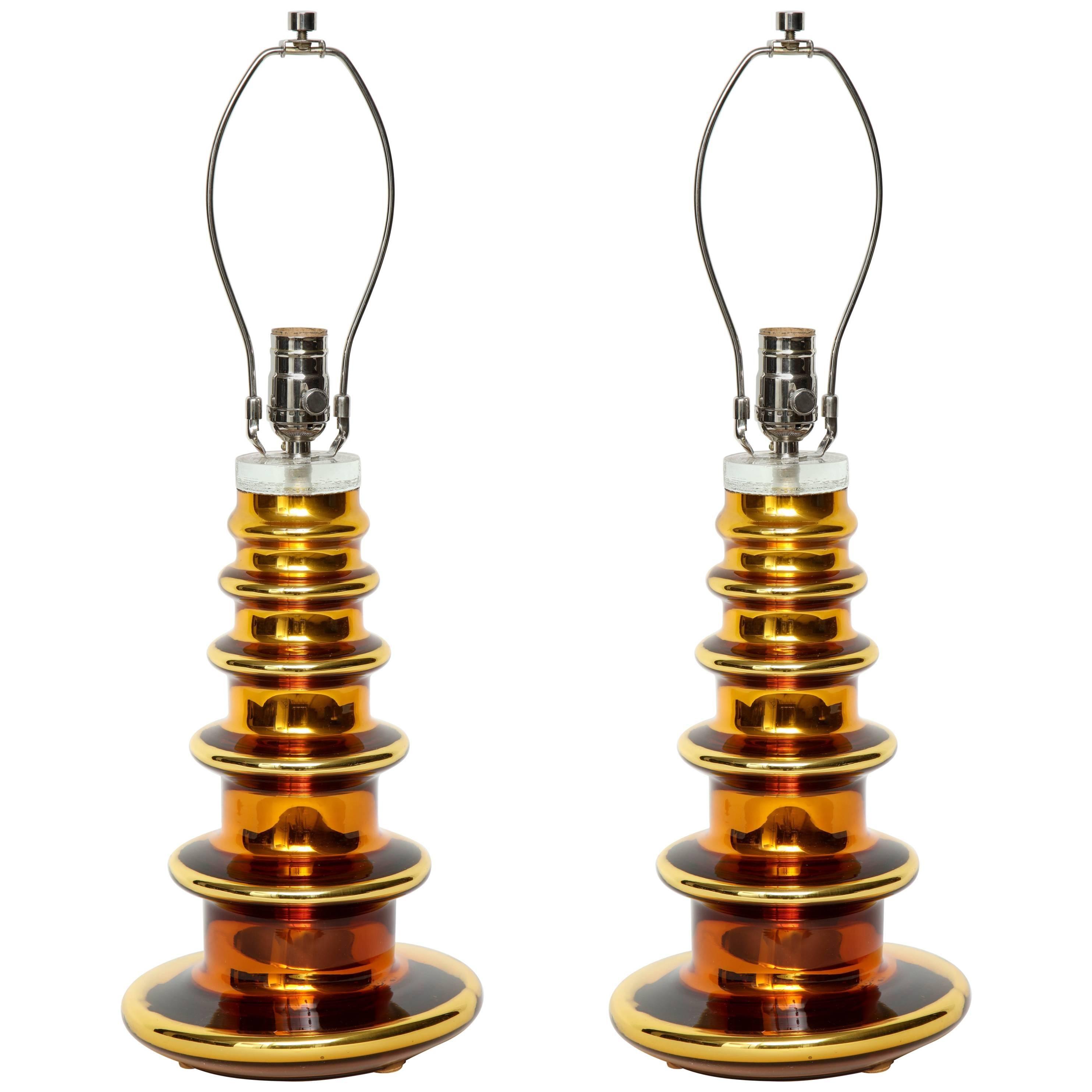 Johansfors Gold Mercury Glass TOTEM Lamps