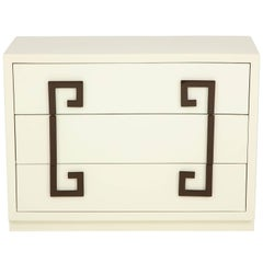Ivory Lacquer Chest with Greek Key Pulls