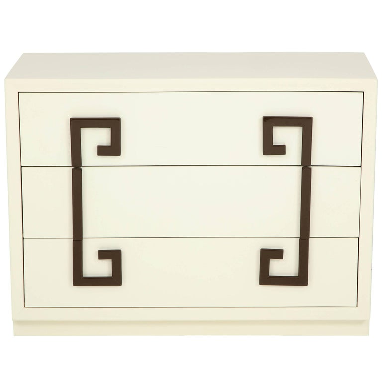 Ivory Lacquer Chest with Greek Key Pulls For Sale