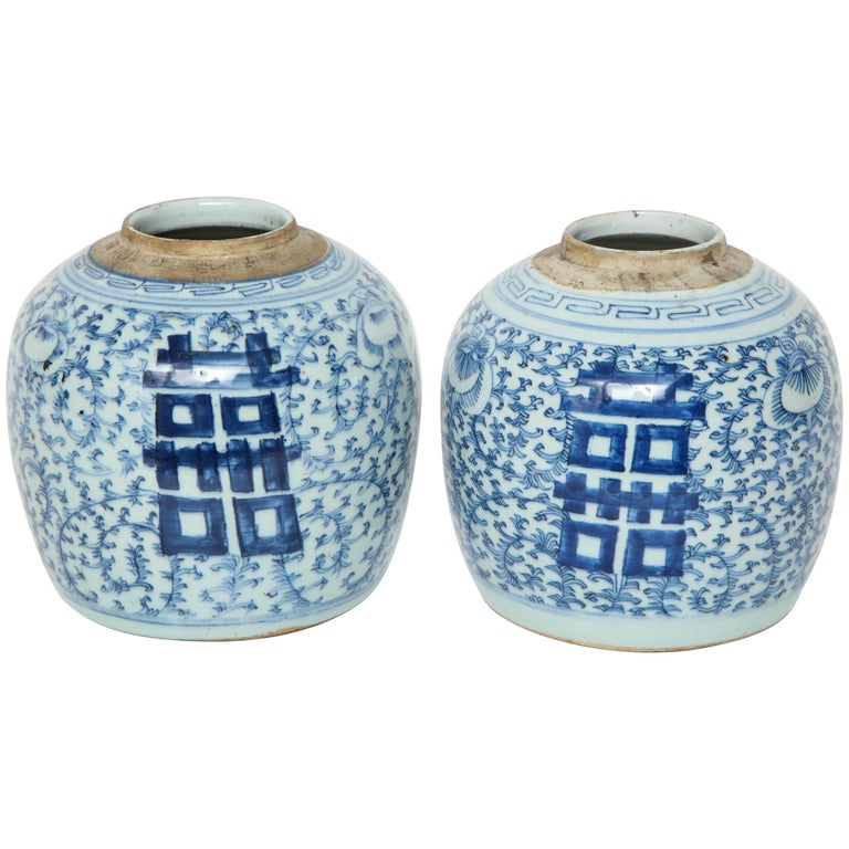Chinese Blue/White Cache Pots