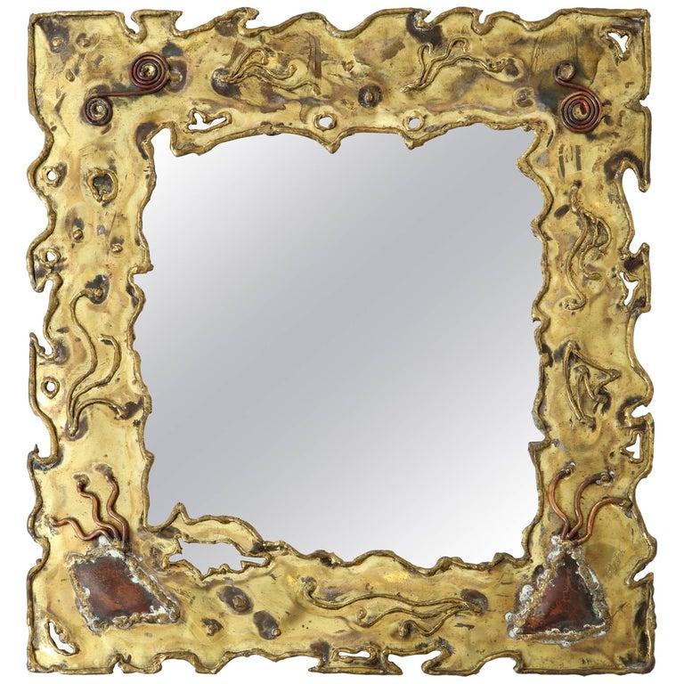 Brutalist Brass Mirror, circa 1950