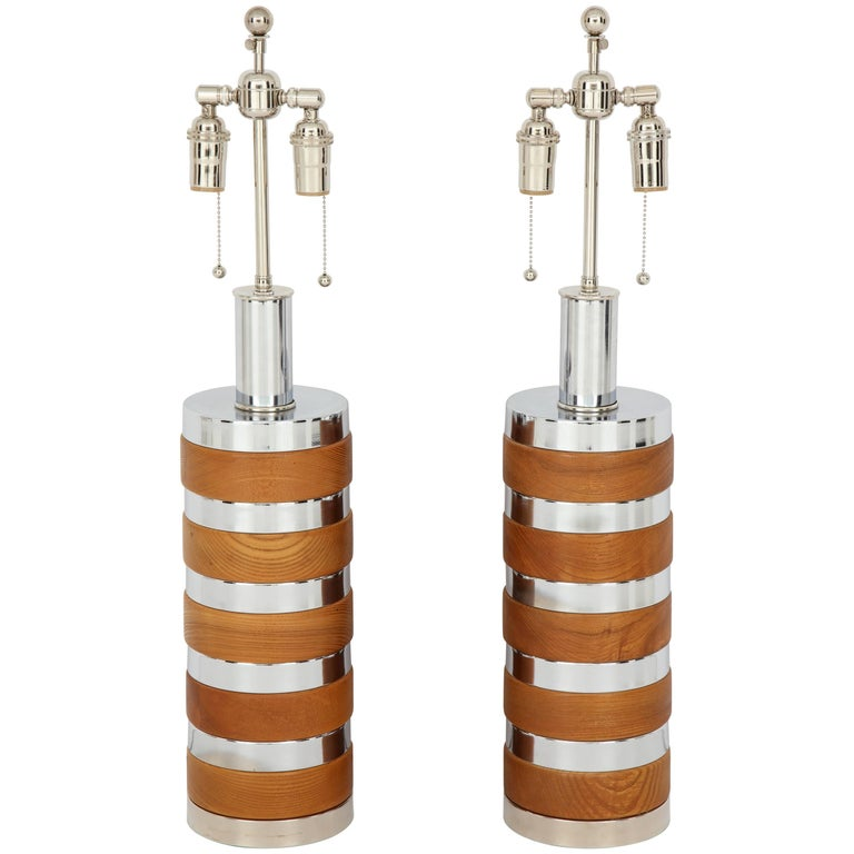 Pair of Wood and Chrome Lamps by Laurel