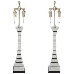 Pair of 1970s Midcentury Polished Chrome Lamps