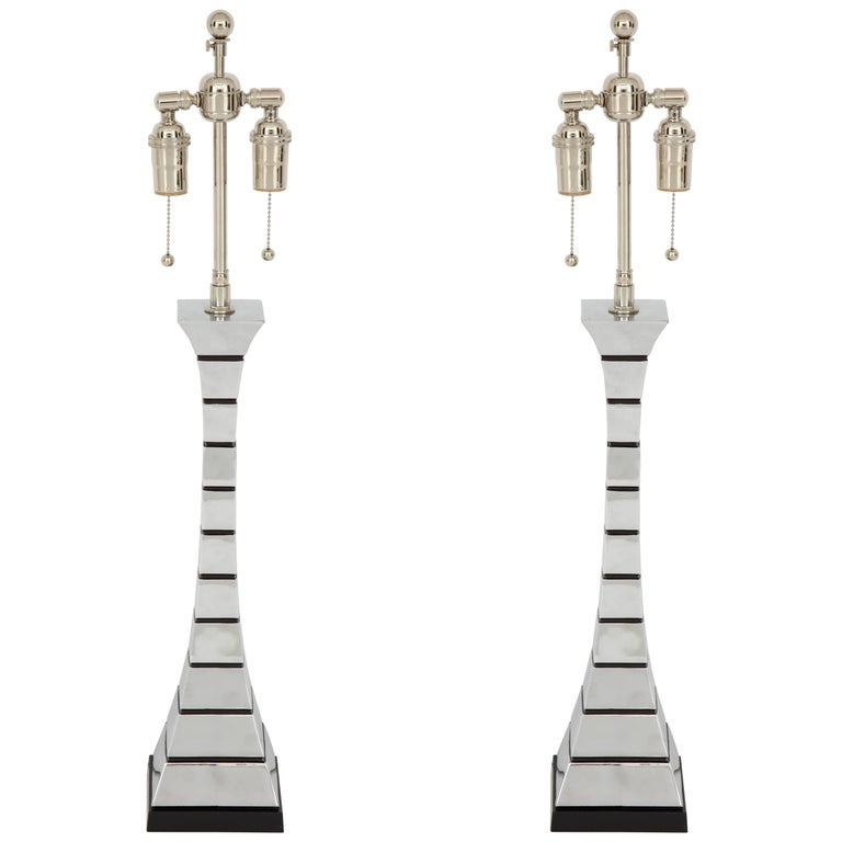 Pair of 1970s Midcentury Polished Chrome Lamps For Sale