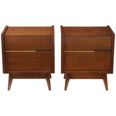 Pair of Walnut Midcentury Commodes