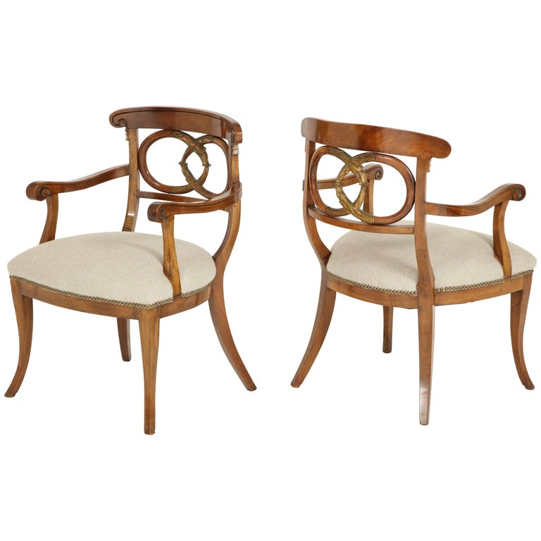 Pair Of Biedermeyer Armchairs For Sale At 1stdibs